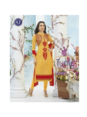 Picture of 3001 Golden Yellow and Red Georgette Designer Suit