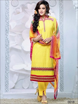 Picture of 0018 Yellow and Dark Red Cambric Cotton Straight Suit