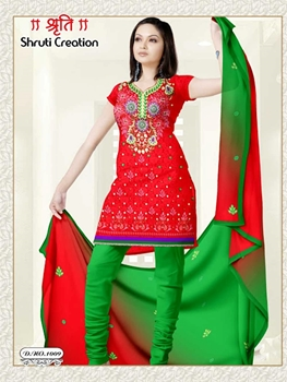 Picture of 1009 Red and ParrotGreen Jacquard Dress Material