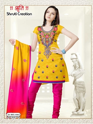 Picture of 1005 Yellow and Magenta Georgette Jacquard Dress Material