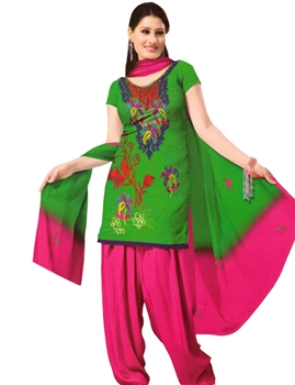 Picture of 1005 Green and Deep Pink Velvet Embroidered Dress Material
