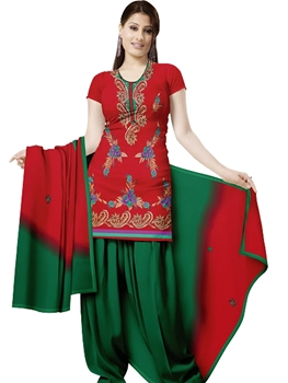 Picture of 1003 Red and Dark Green Velvet Embroidered Dress Material