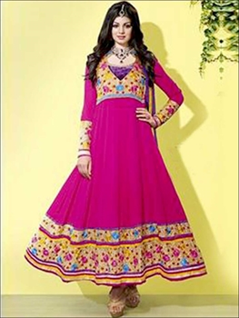 Picture of 704Yellow and DeepPink Georgette Straight Suit