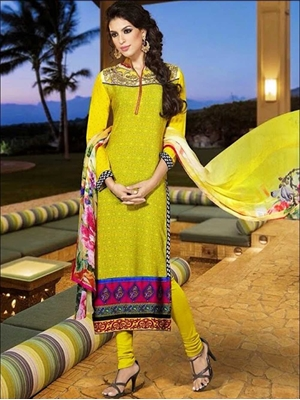 Picture of 6103 Yellow Crepe Straight Suit