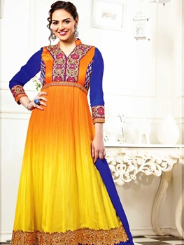 Picture of 3007Orange Yellow and Blue Georgette Anarkali Suit