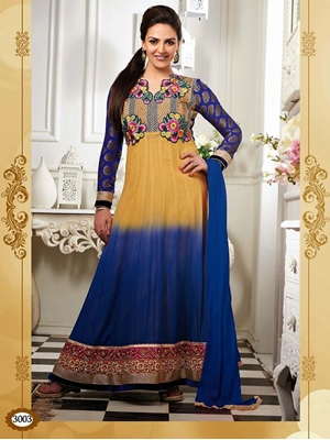 Picture of 3003 Golden Yellow and Blue Georgette Anarkali Suit