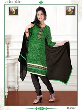 Picture of 2007 Green and Black Chudidar Suit