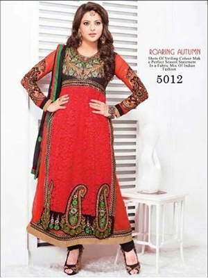 Picture of 5012 Black and Red Georgette Anarkali Suit