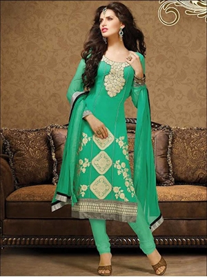 Picture of 1009SeaGreen and Beige Georgette Straight Suit