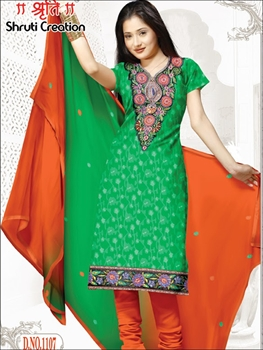 Picture of 1107Green and Orange Chudidar Suit