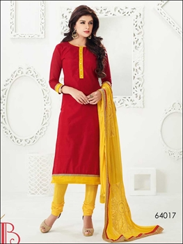 Picture of 64017FireBrickRed and Yellow Chanderi Straight Suit