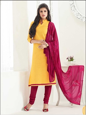 Picture of 64003 Yellow Chanderi Straight Suit