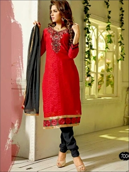 Picture of 7004Red and Black Designer Brasso Straight Suit