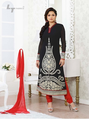 Picture of 62006 Black and Red Designer Georgette Straight Suit