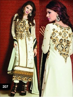 Picture of 207Beige and Black Designer Georgette Straight Suit