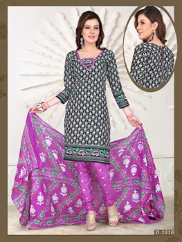 Picture of 1016Black and Pink Chudidar Suit