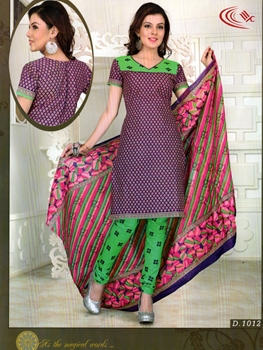 Picture of 1012Pink and Green Chudidar Suit