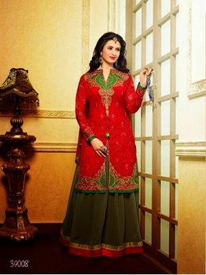 Picture of 39008Red and Brown Embroidered Georgette Straight Suit
