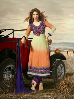 Picture of 4006 Cream And Orange Designer Anarkali Suit