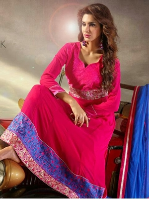 Picture of Magenta and Blue Embroiderd Georgette Anarkali