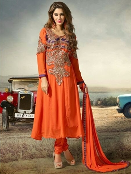 Picture of 4001 Orange Designer Anarkali Suit