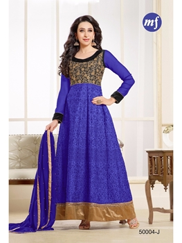 Picture of 50004J Black and SlateBlue Georgette Anarkali Suit