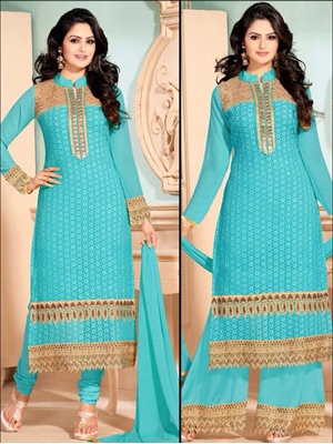 Picture of 35008 Sky Blue Georgette Straight Suit