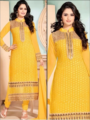 Picture of 35001 Turmeric Yellow Georgette Straight Suit