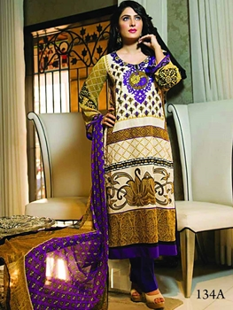 Picture of 134A Navajo White and Purple Pakistani Suit