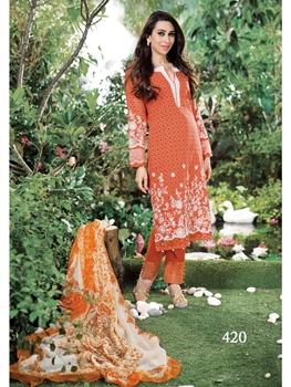 Picture of 420White and CarrotRed Lawn Cotton Pakistani Suit