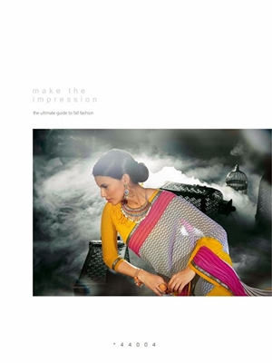Picture of 44004Yellow and White Georgette Saree