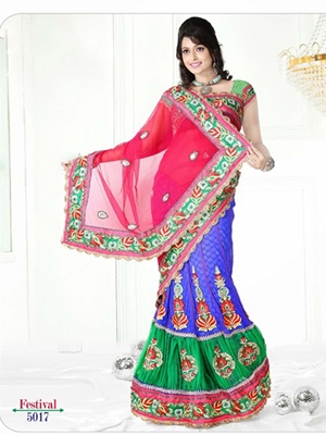 Picture of 5017Deep Pink and Blue Designer Saree