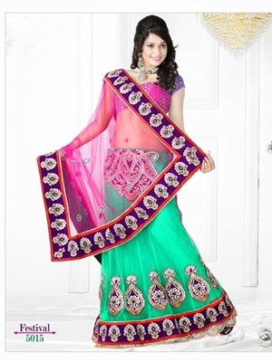Picture of 5015Pink and Sea Green Designer Saree