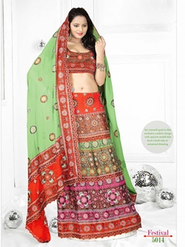 Picture of 5014Light Green and Brown Designer Saree
