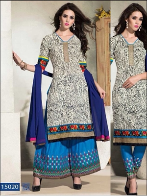 Picture of 15020White and Teal Blue Designer Suit