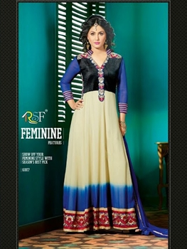 Picture of 6007Ivory and Blue Anarkali Suit