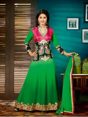 Picture of 6002Green and Pink Anarkali Suit