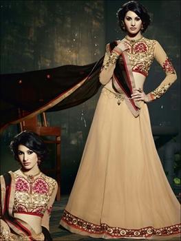 Picture of 11119 Beige and Black Anarkali Suit
