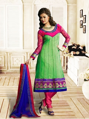 Picture of 1208Light Green and Pink Anarkali Suit