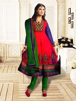 Picture of 1206Dark Pink and Green Anarkali Suit