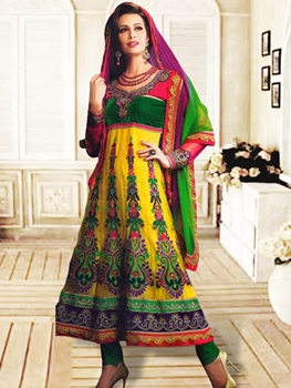 Picture of 1205Yellow and Green Anarkali Suit