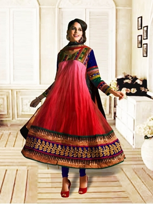Picture of 801A Pink and Blue Anarkali Suit