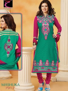 Picture of 7912 Green and Dark Pink Straight Suit