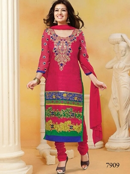 Picture of 7909 Magenta and Green Straight Suit