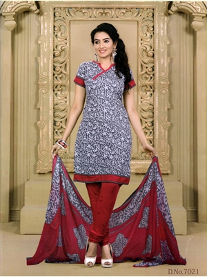 Picture of 7021Grey and Red Chudidar Suit