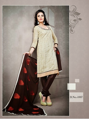 Picture of 1007 Ivory Red and Dark Brown Chudidar Suit