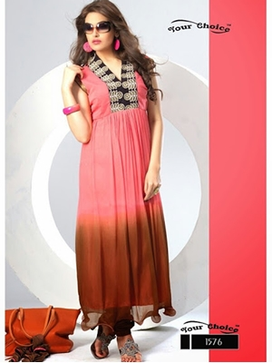 Picture of 1576 Carrot Pink and Brown Chiffon Anarkali Suit