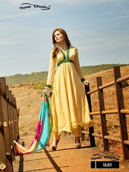 Picture of 1685 Cream Chiffon Anarkali Suit