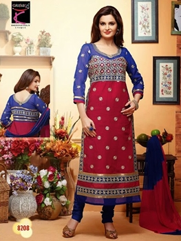 Picture of 8208 Blue and Dark Pink Straight Suit