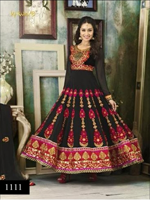 Picture of 1111 Black and Red Anarkali Suit